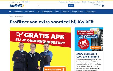 Screenshot of kwik-fit.nl - Actuele aanbiedingen bij KwikFit - captured April 14, 2016