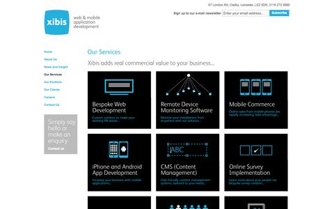 Screenshot of Services Page xibis.com - Bespoke Web Development, Mobile Commerce, M-Commerce, iPhone And Android App Development, E-Recruitment And E-Commerce Solutions - captured Oct. 7, 2014