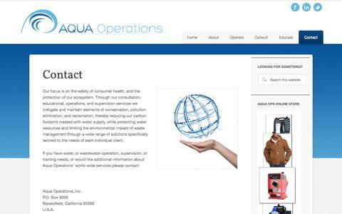 Screenshot of Contact Page aquaoperations.com - Contact - captured Oct. 4, 2014