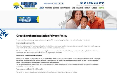 Screenshot of Privacy Page gni.ca - Great Northern Insulation Privacy Policy - captured June 26, 2017