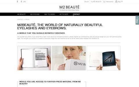 Screenshot of Press Page m2beaute.com - M2 Beauté | press | purchase online - captured March 13, 2016