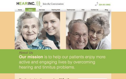Screenshot of About Page hearinc.biz - About Us | Akron, Canton, Ohio | HEARINC))) - captured July 17, 2018