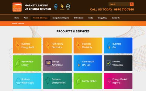 Screenshot of Products Page catalyst-commercial.co.uk - Energy Brokers Products and Services - captured Oct. 30, 2014
