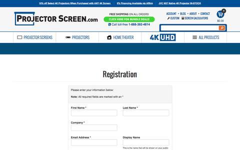 Screenshot of Signup Page projectorscreen.com - Register at ProjectorScreen.com - captured Aug. 25, 2019