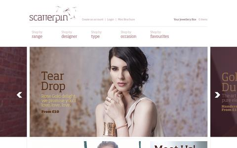 Screenshot of Home Page scatterpin.com - Scatterpin Jewellery - captured Sept. 7, 2015