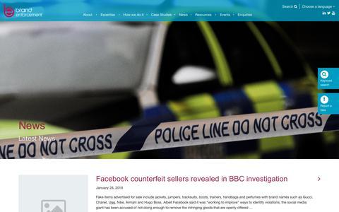 Screenshot of Press Page brandenforcement.co.uk - News - Brand Enforcement - captured Dec. 19, 2018