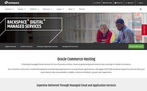 Screenshot of rackspace.com - Customized Hosting for Oracle Commerce | Rackspace - captured Sept. 12, 2017