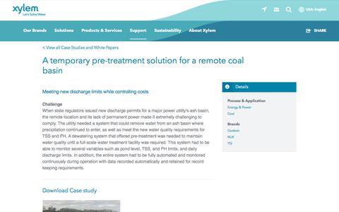 Screenshot of Case Studies Page xylem.com - A temporary pre-treatment solution for a remote coal basin   Xylem US - captured Nov. 9, 2019