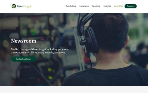 Screenshot of Press Page greentarget.com - Newsroom - Greentarget - captured July 12, 2019