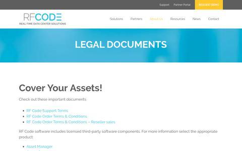 Screenshot of Terms Page rfcode.com - Legal - captured Oct. 19, 2018