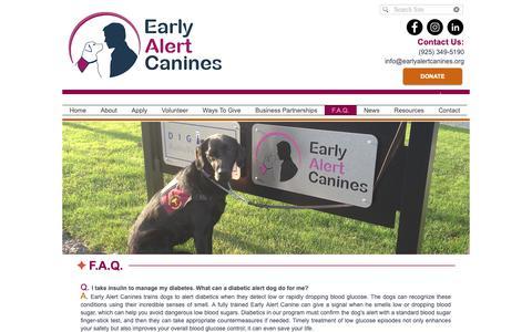 Screenshot of FAQ Page earlyalertcanines.org - Early Alert Canines - A Diabetics Best Friend - captured Nov. 4, 2018