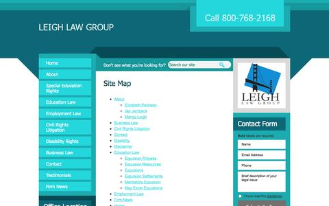 Screenshot of Site Map Page leighlawgroup.com - Site Map | Leigh Law Group | San Francisco, California - captured Oct. 28, 2014