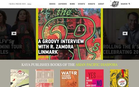 Screenshot of Home Page kaya.com - Home |Kaya Press - captured Feb. 12, 2016
