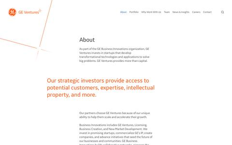 Screenshot of About Page ge.com - About Us   GE Ventures - captured Oct. 22, 2018