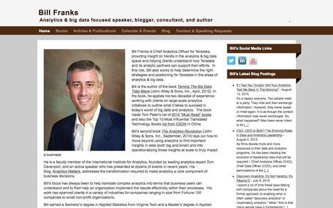 Screenshot of Home Page bill-franks.com - Bill Franks, Chief Analytics Officer, Teradata - captured Aug. 30, 2015