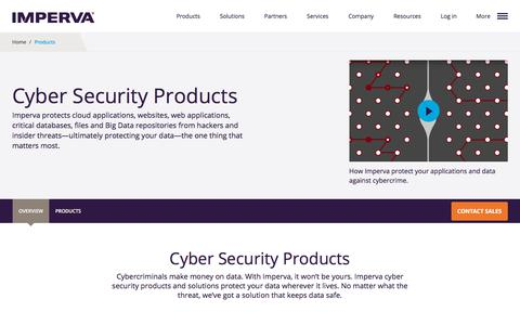 Screenshot of Products Page imperva.com - Products | Imperva - captured Dec. 8, 2017