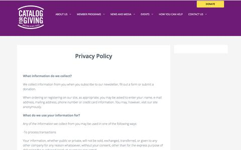 Screenshot of Privacy Page cfgnyc.org - Privacy Policy | The Catalog for Giving - captured Nov. 16, 2017