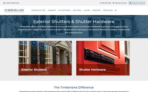 Screenshot of Products Page timberlane.com - Custom Exterior Shutters & Shutter Hardware   Timberlane - captured Jan. 23, 2020