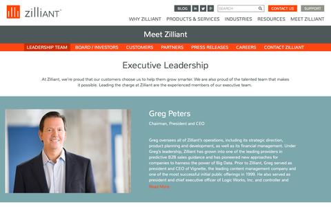Screenshot of Team Page zilliant.com - Zilliant Executive Leadership Team - captured Nov. 23, 2015