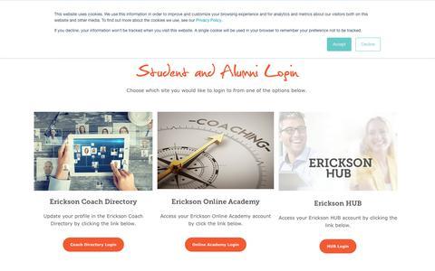 Screenshot of Login Page erickson.edu - Student and Alumni Login | Erickson Coaching International - captured Sept. 22, 2018