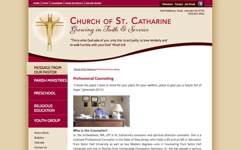 Screenshot of Services Page stcatharine.net - Professional Counseling | Church of St. Catharine - captured Oct. 4, 2014