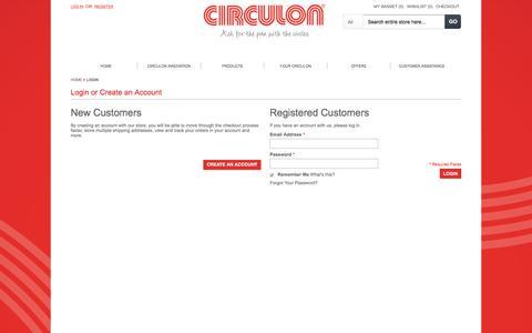 Screenshot of Login Page circulon.uk.com - Circulon UK: Buy quality cookware, bakeware, tools and gadgets - captured June 25, 2016
