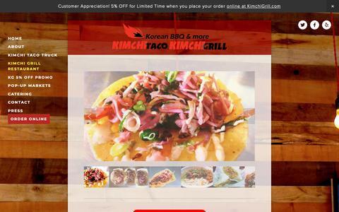 Screenshot of Menu Page kimchigrill.com - kimchi grill restaurant — Kimchi Taco Truck & Kimchi Grill - captured Oct. 23, 2018