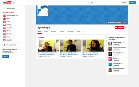 Screenshot of YouTube Page youtube.com - Ryan Burgio  - YouTube - captured Oct. 29, 2014