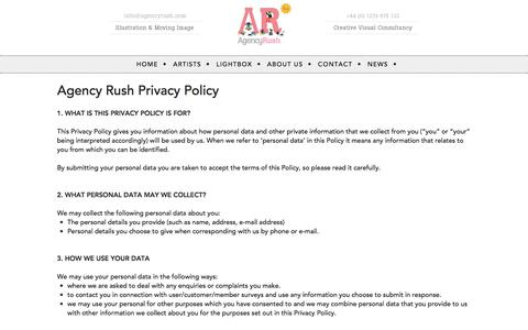Screenshot of Privacy Page agencyrush.com - AgencyRush Illustration Agency | Privacy Policy - captured July 29, 2018