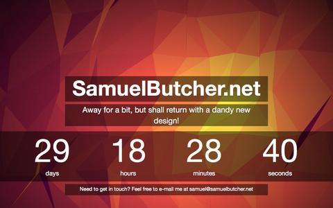 Screenshot of Home Page samuelbutcher.net - SamuelButcher.net - Returning Soon! - captured Oct. 6, 2014