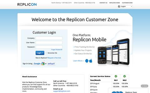 Screenshot of Login Page replicon.com - Welcome to the Replicon Customer Zone - captured Aug. 6, 2016
