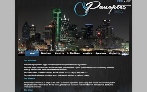 Screenshot of Home Page panoptesdigital.com - Panoptes Digital | supply chain and logistics management and security software - captured July 18, 2015