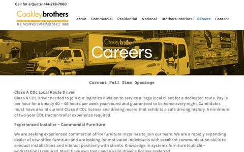 Screenshot of Jobs Page coakleybrothers.com - Find Your Next Career with Coakley | Coakley Brothers of Milwaukee - captured Dec. 15, 2018