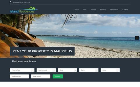 Screenshot of Home Page islandresidences.com - Real Estate Agency in the North of Mauritius | Island Residences - captured Nov. 26, 2016