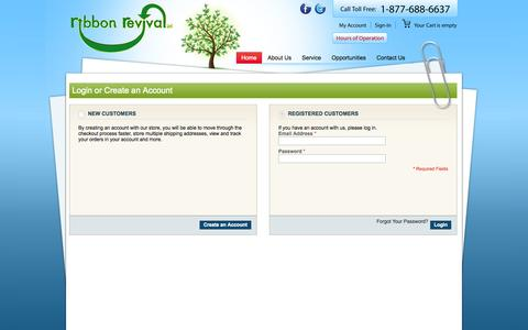 Screenshot of Login Page ribbonrevival.com - Customer Login - captured Nov. 3, 2014
