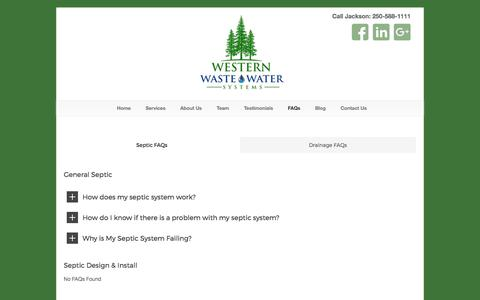 Screenshot of FAQ Page westernwastewater.ca - Septic and Drainage FAQs for Vancouver Island, BC - captured Oct. 20, 2017
