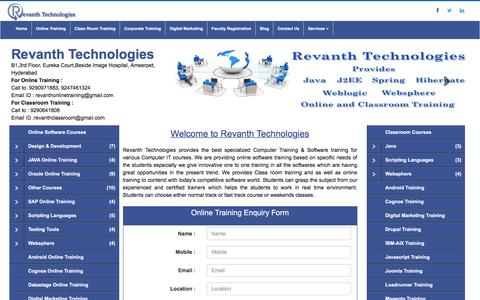 Screenshot of Home Page Menu Page revanthtechnologies.com - Online software training from India, Online Training Institute in Hyderabad India. - captured Jan. 11, 2016