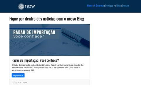 Screenshot of Blog nowlogistics.com.br - Blog  - Now Logistics Group - captured Oct. 20, 2018