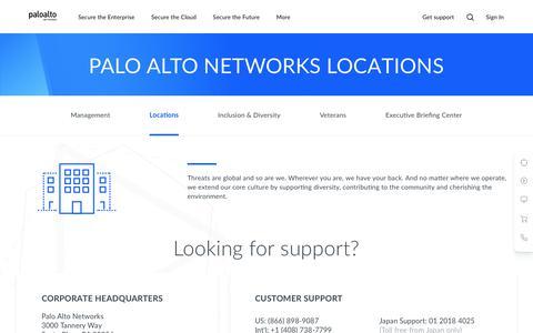 Screenshot of Locations Page paloaltonetworks.com - Locations - Palo Alto Networks - captured Nov. 13, 2019