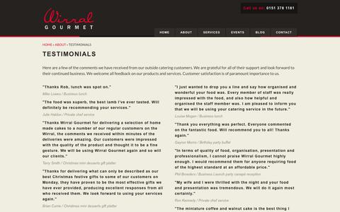 Screenshot of Testimonials Page wirralgourmet.com - Testimonials from previous outside catering and private chef customers - captured Oct. 26, 2014