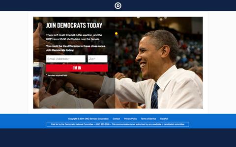 Screenshot of Landing Page democrats.org - |  You Could Be the Difference - captured Oct. 27, 2014
