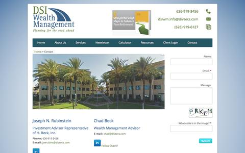 Screenshot of Contact Page dsiwm.com - Contact | DSI Wealth Management - captured Oct. 5, 2014