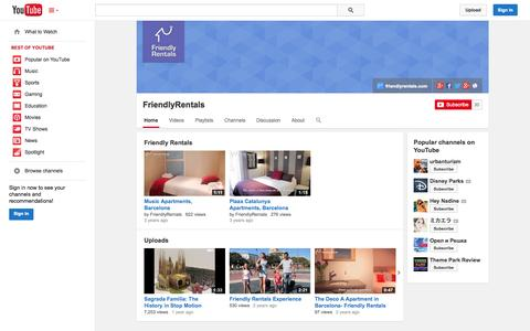 Screenshot of YouTube Page youtube.com - FriendlyRentals  - YouTube - captured Oct. 25, 2014