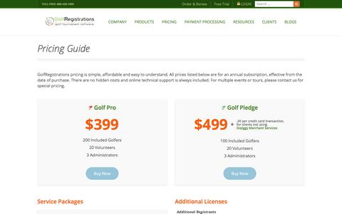 Screenshot of Pricing Page golfregistrations.com - Pricing Guide | GolfRegistrations - captured Feb. 7, 2018