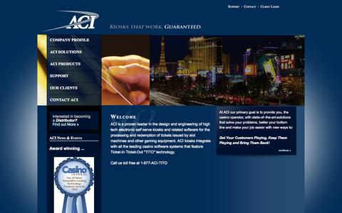 Screenshot of Home Page aci-inc.biz - Welcome to Automated Currency Instruments - captured Sept. 14, 2015
