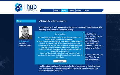 Screenshot of About Page hubbiomedical.com - Hub Biomedical - about us - captured Sept. 14, 2017