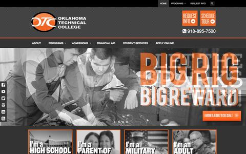 Screenshot of Home Page oklahomatechnicalcollege.com - Oklahoma Technical College in Tulsa, OK 918-895-7500 - captured Sept. 30, 2014