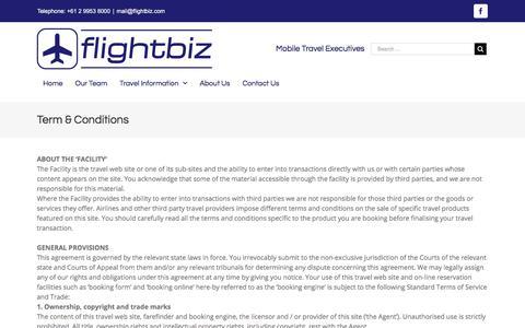Screenshot of Terms Page flightbiz.com - Term & Conditions - Flightbiz - captured Aug. 18, 2018