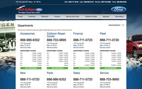 Screenshot of Hours Page bkford.com - Ford Dealership | Waco | Business Hours & Phone Numbers - captured Oct. 5, 2014