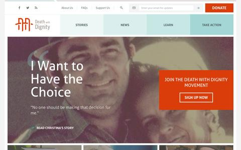 Screenshot of Home Page deathwithdignity.org - Home - Death With Dignity - Death With Dignity - captured Feb. 8, 2016